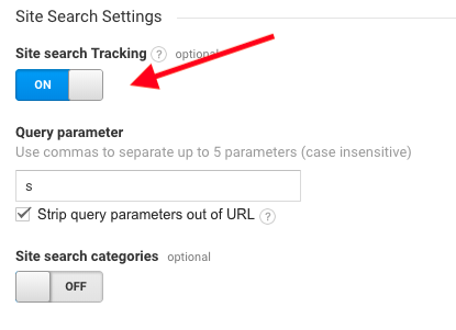 google analytics site search tracking on