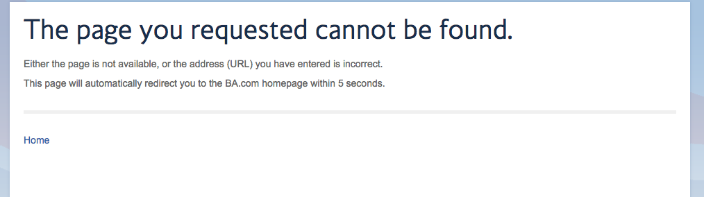british airways 404 page not found