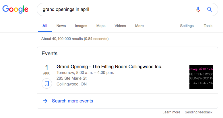 Events Rich Snippets
