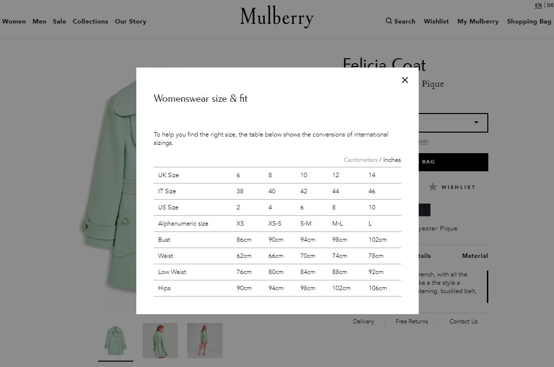 Screenshot of how Mulberry used pop ups to add product descriptions and details to save scroll time