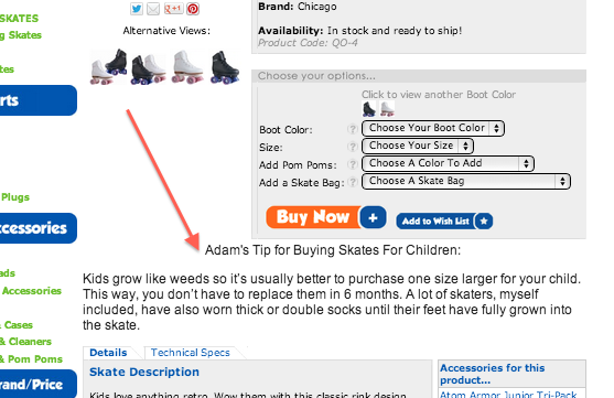 Screenshot of how RollerskateNation's added Adam's pro-tip to the page to increase sales