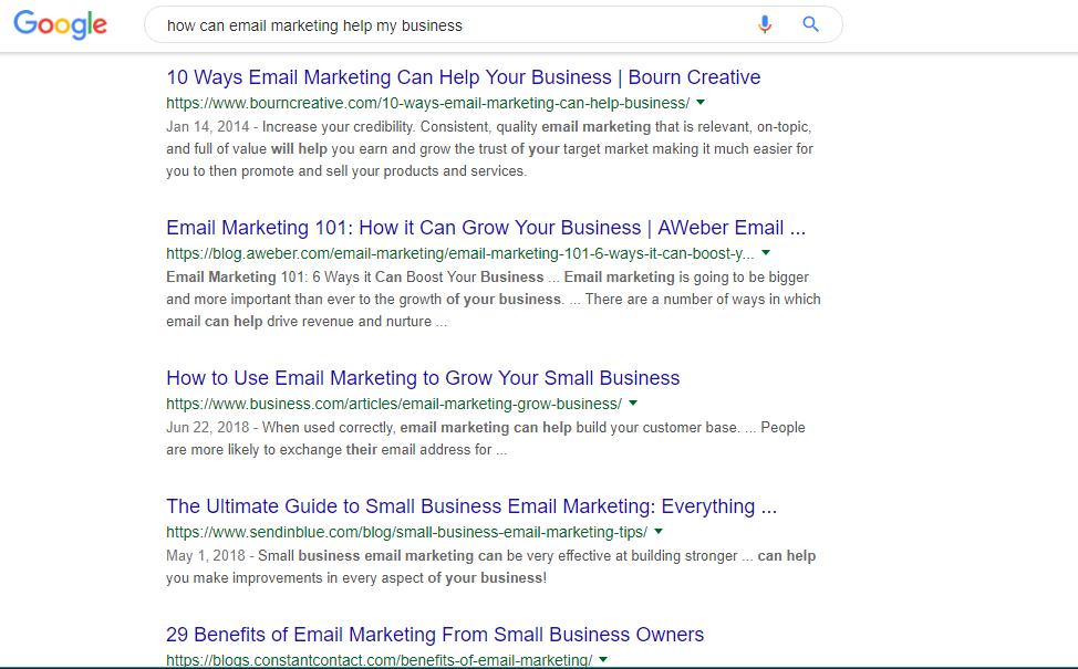 """screenshot example of Google SERP for search query """"how can email marketing help my business?"""""""