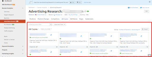 screenshot of competitor ad copies seen in the SEMrush tool