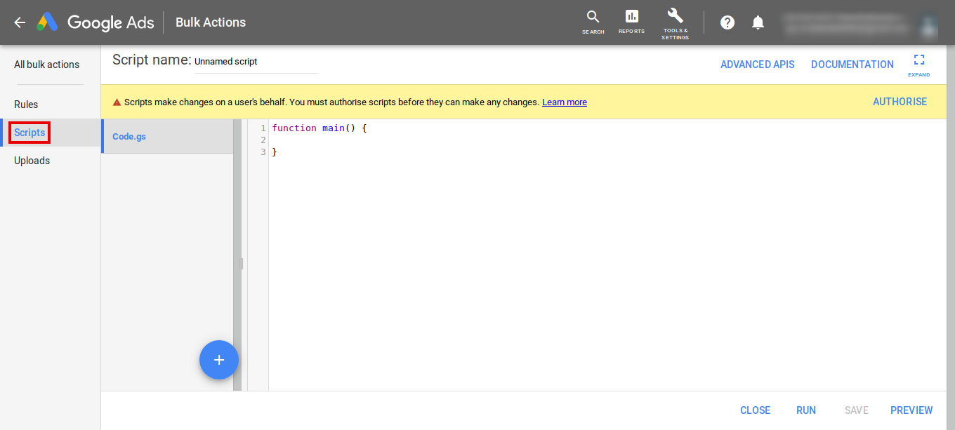 Example screenshot of Google Ads Scripts
