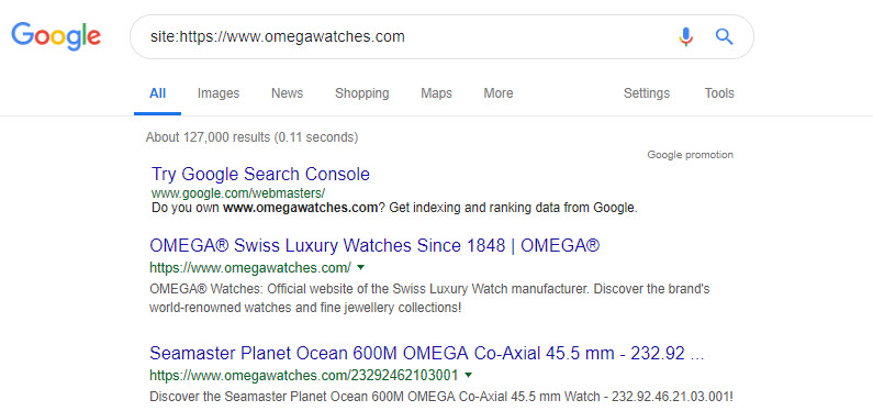 using the site operator in google search